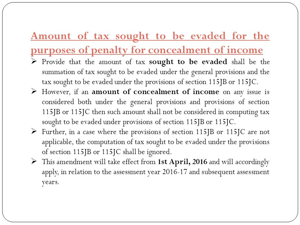 Amount of tax sought to be evaded for the purposes of penalty for concealment of income