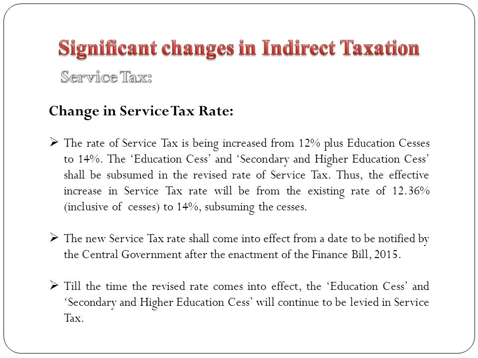 Significant changes in Indirect Taxation
