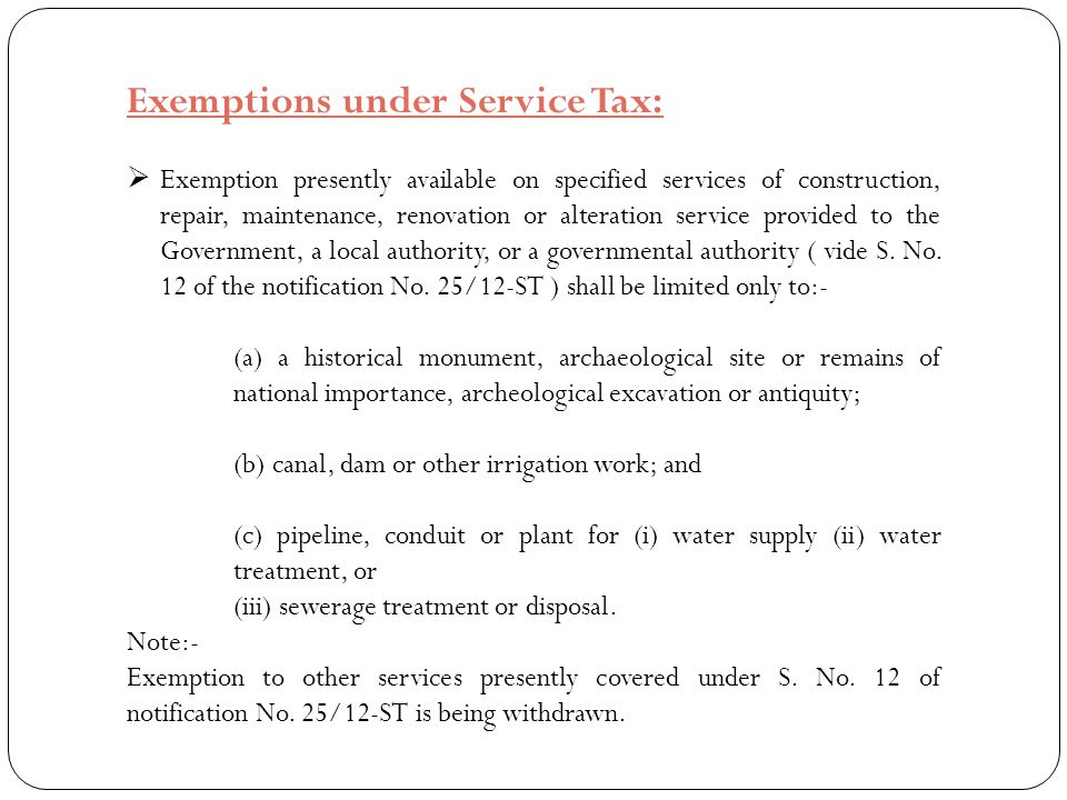 Exemptions under Service Tax: