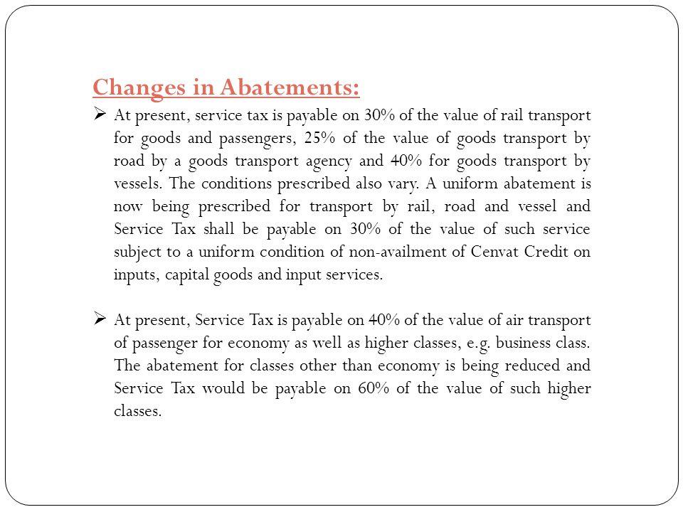 Changes in Abatements:
