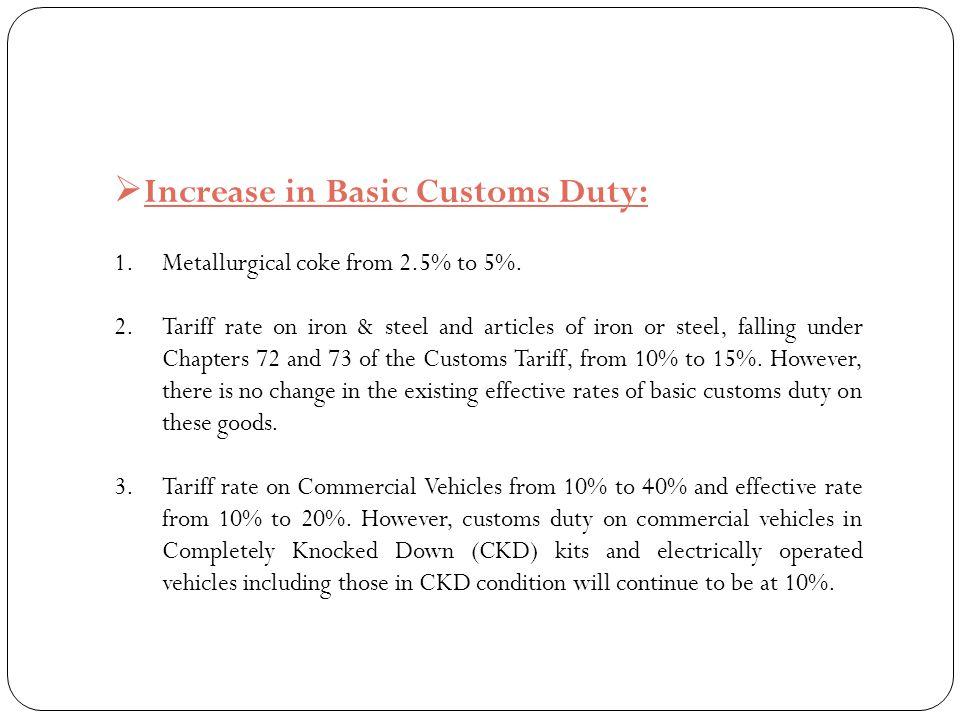 Increase in Basic Customs Duty: