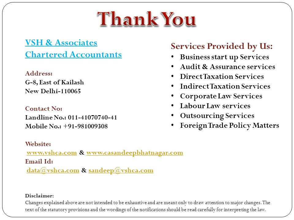 Thank You VSH & Associates Services Provided by Us: