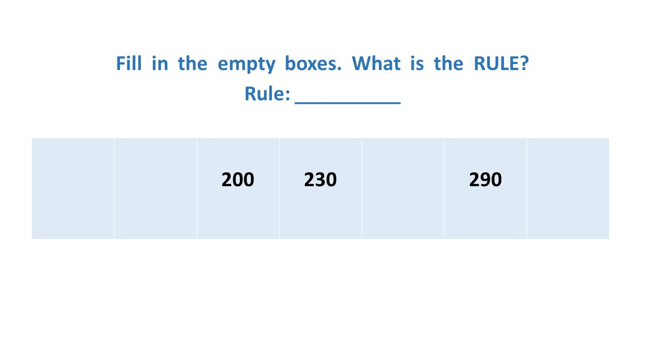Fill in the empty boxes. What is the RULE Rule: __________