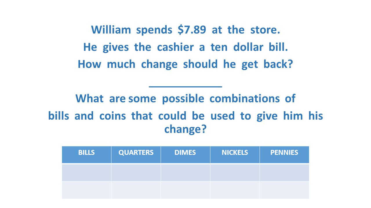 William spends $7. 89 at the store