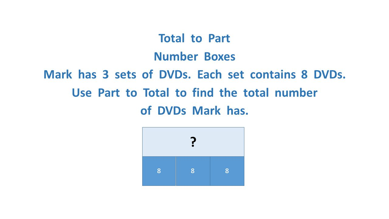 Total to Part Number Boxes Mark has 3 sets of DVDs