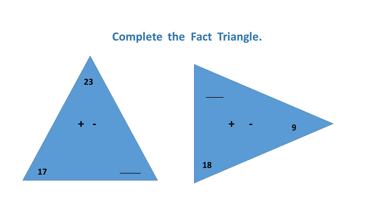 Complete the Fact Triangle.