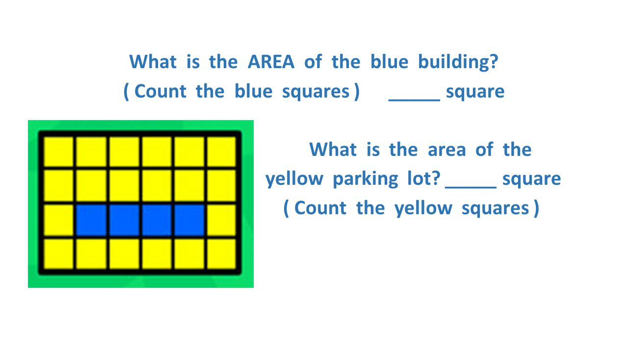 What is the AREA of the blue building