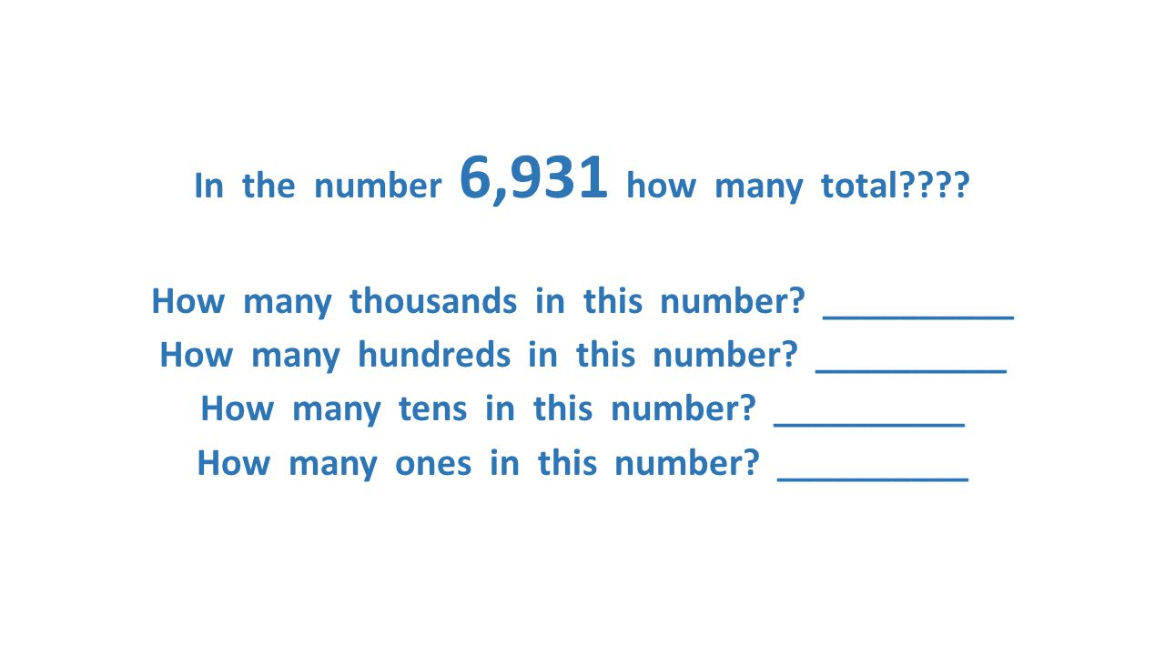 In the number 6,931 how many total. How many thousands in this number