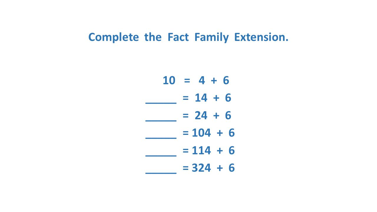 Complete the Fact Family Extension