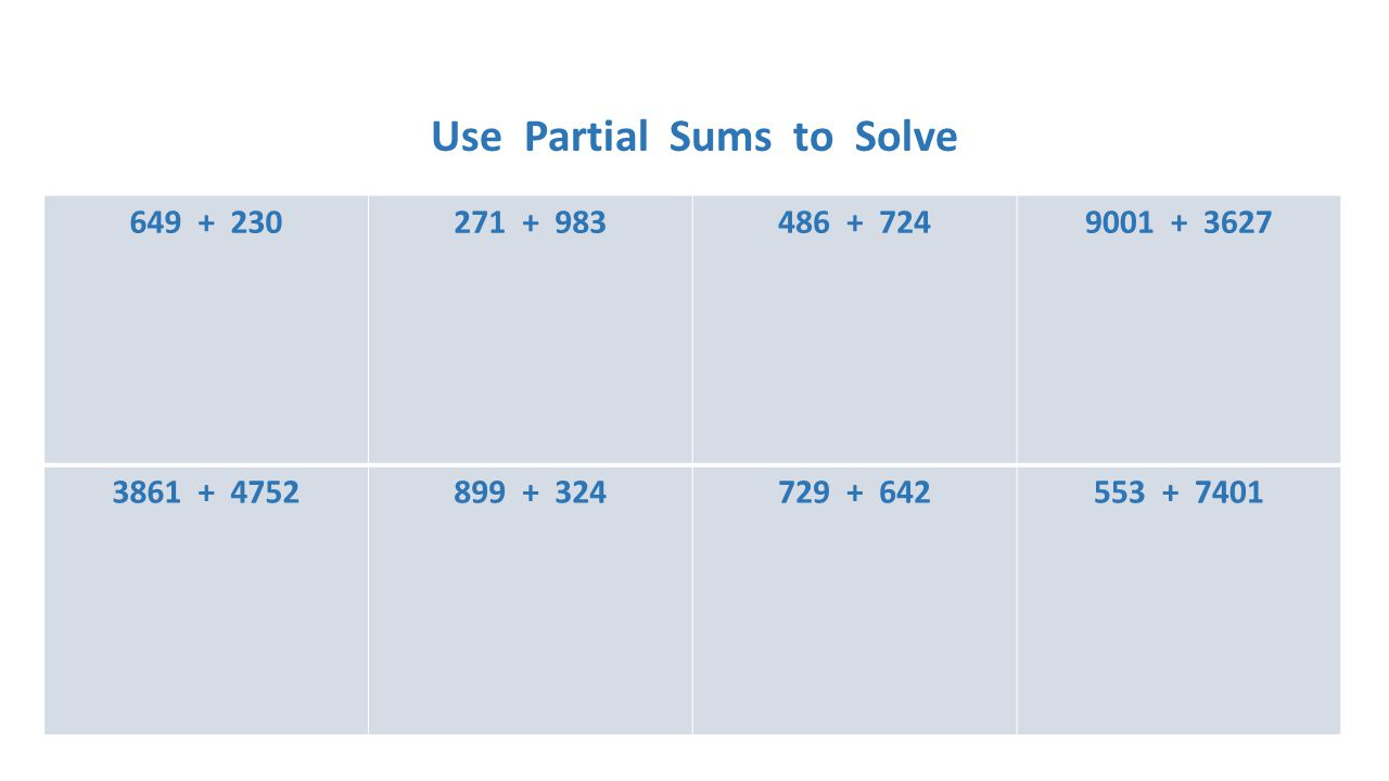 Use Partial Sums to Solve