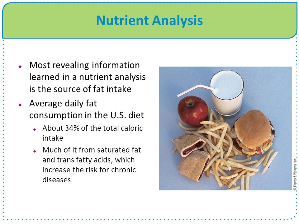 Nutrient Analysis Most revealing information learned in a nutrient analysis is the source of fat intake.