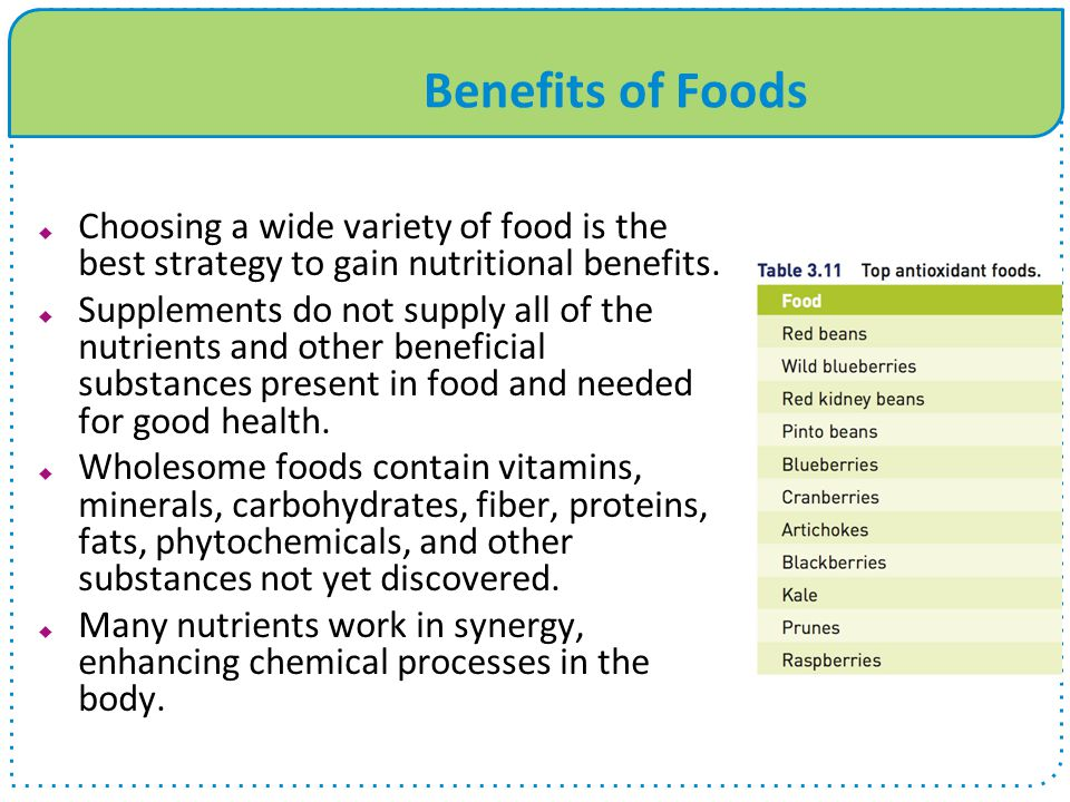 Benefits of Foods Choosing a wide variety of food is the best strategy to gain nutritional benefits.