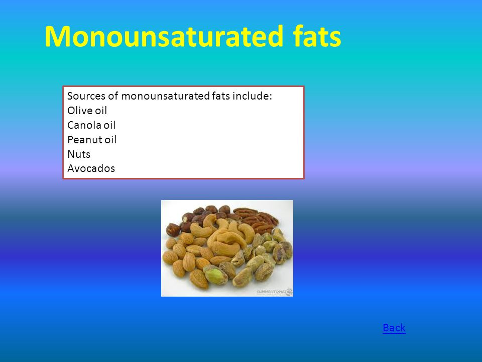 Monounsaturated fats Sources of monounsaturated fats include: