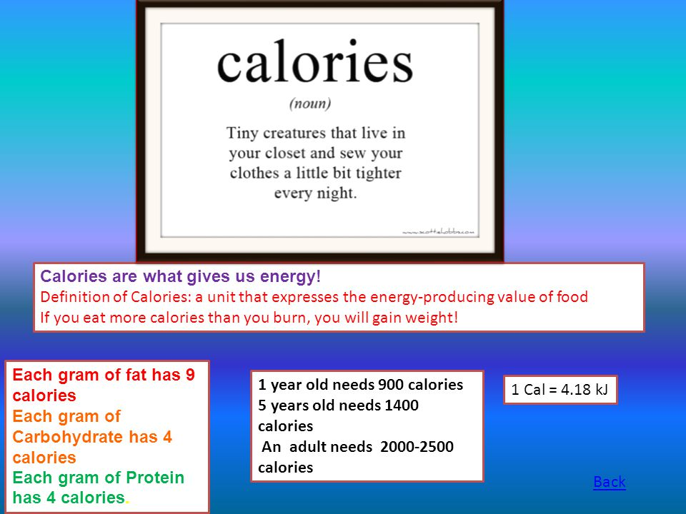 Calories are what gives us energy!