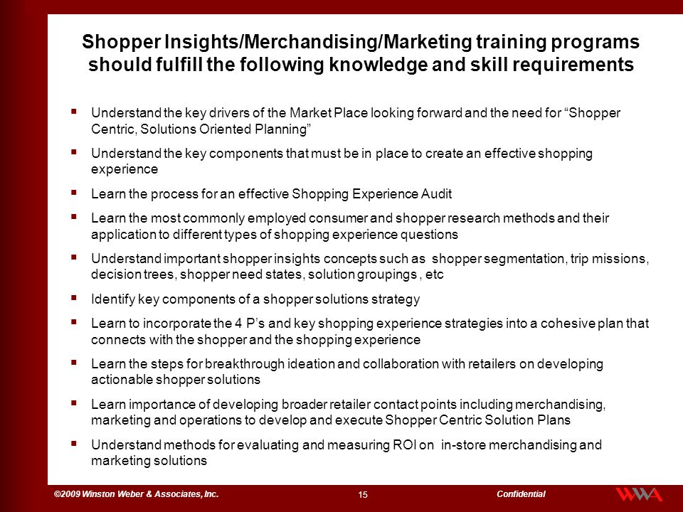 Shopper Insights/Merchandising/Marketing training programs should fulfill the following knowledge and skill requirements