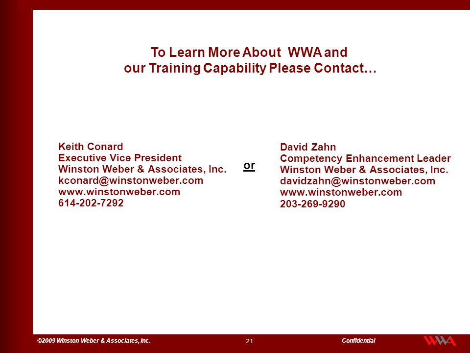 To Learn More About WWA and our Training Capability Please Contact…