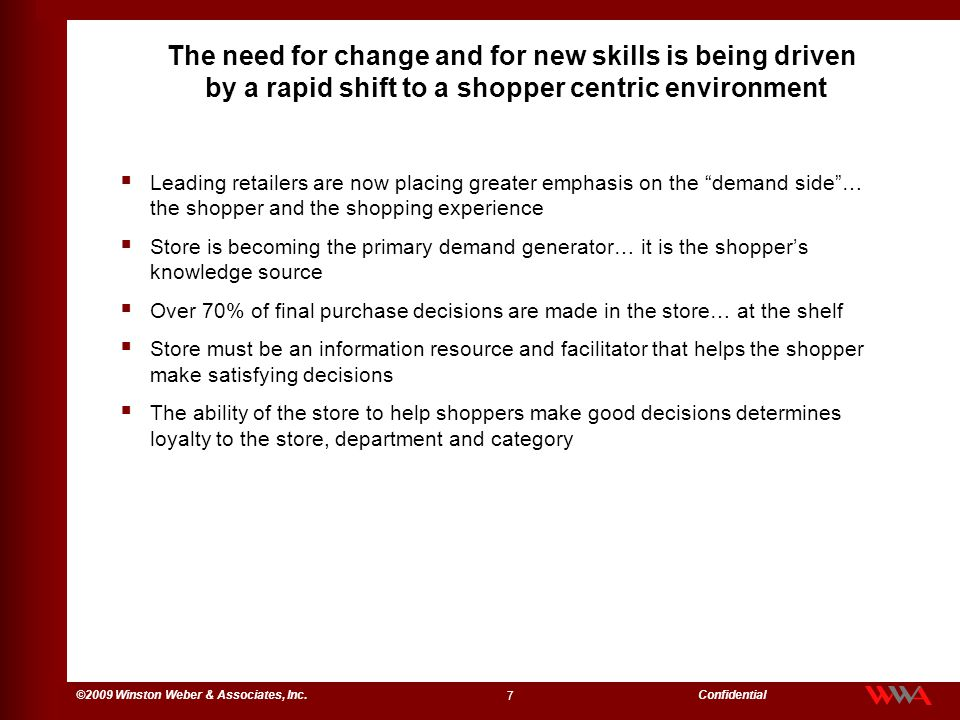The need for change and for new skills is being driven by a rapid shift to a shopper centric environment