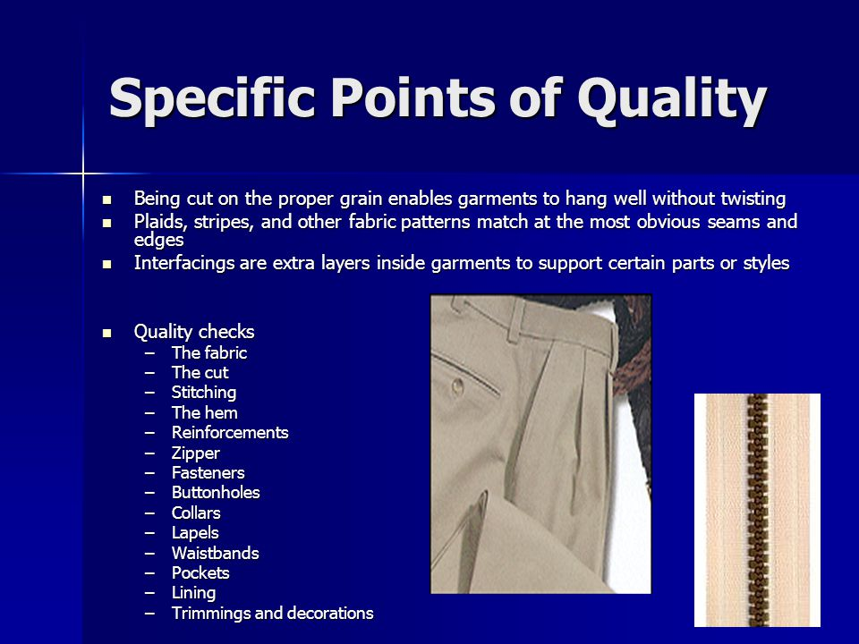 Specific Points of Quality