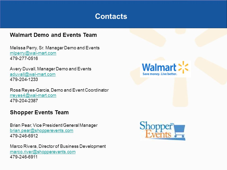 Contacts Walmart Demo and Events Team Shopper Events Team
