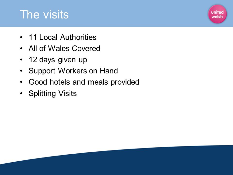 The visits 11 Local Authorities All of Wales Covered 12 days given up