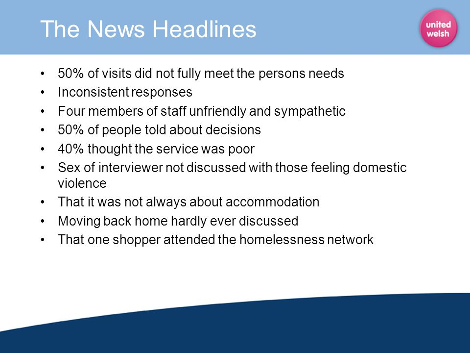 The News Headlines 50% of visits did not fully meet the persons needs