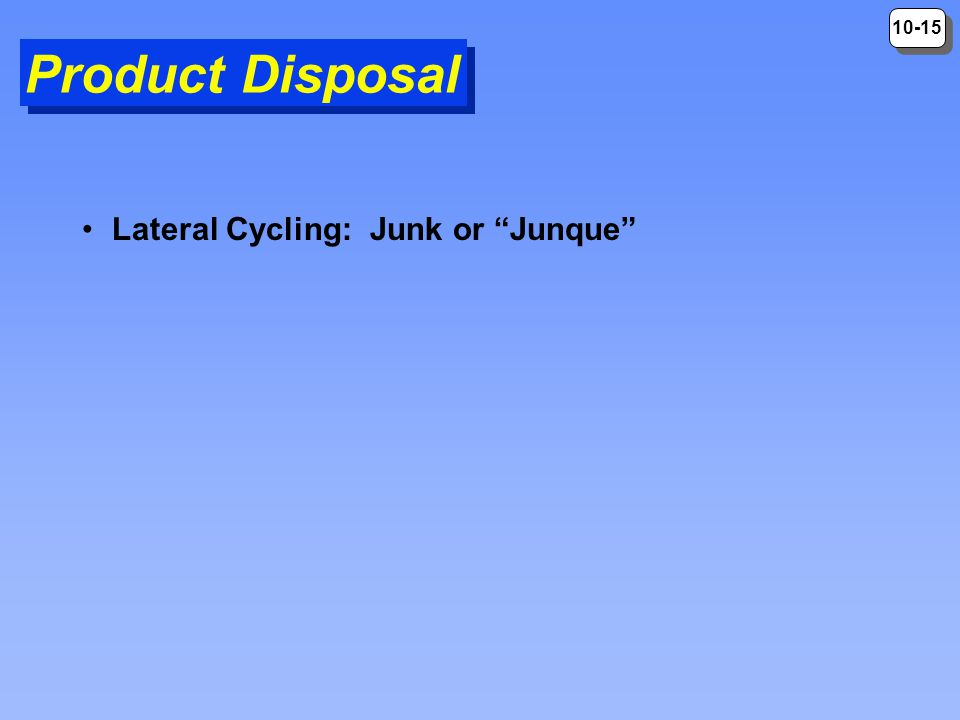 Product Disposal Lateral Cycling: Junk or Junque