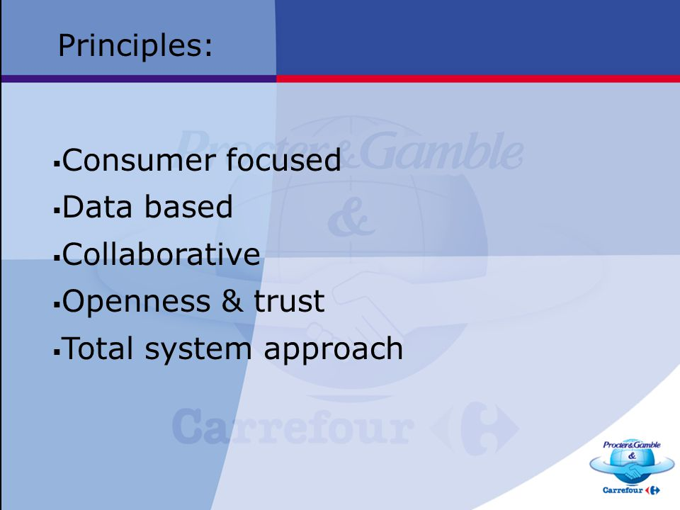 Principles: Consumer focused Data based Collaborative Openness & trust Total system approach
