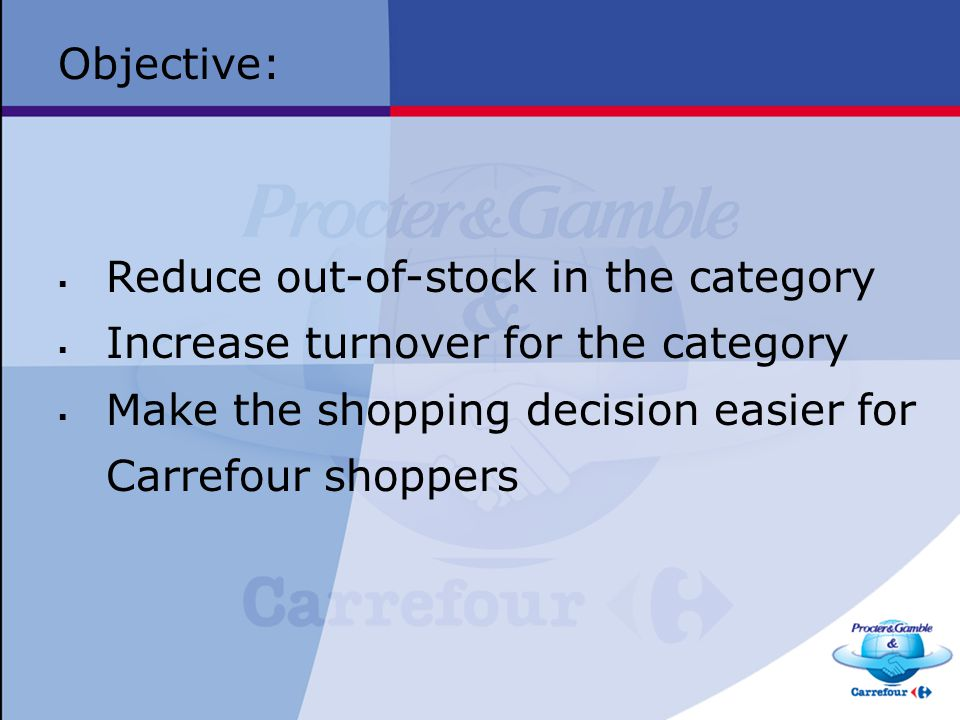 Objective: Reduce out-of-stock in the category. Increase turnover for the category.