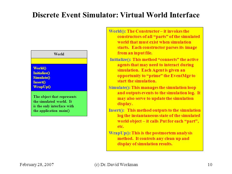 Discrete Event Simulator: Virtual World Interface