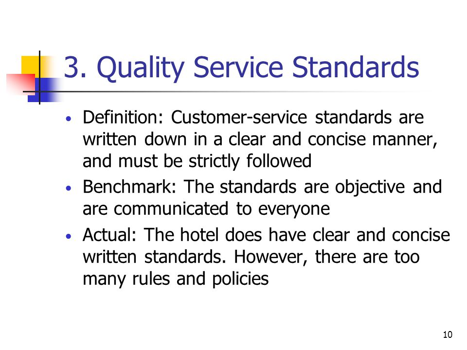 3. Quality Service Standards