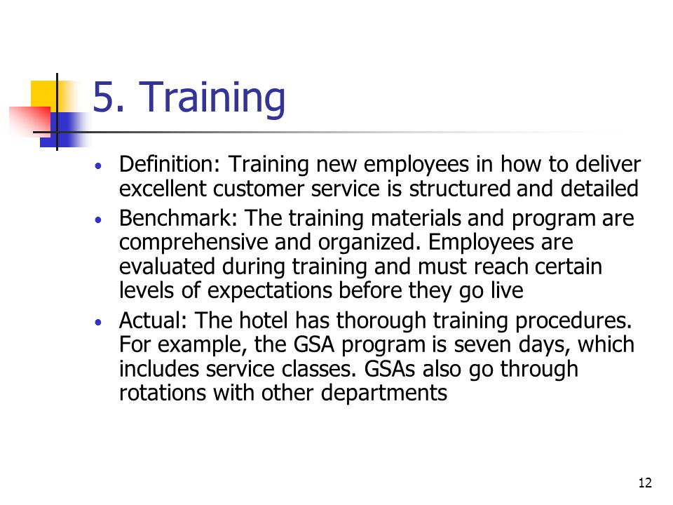 5. Training Definition: Training new employees in how to deliver excellent customer service is structured and detailed.