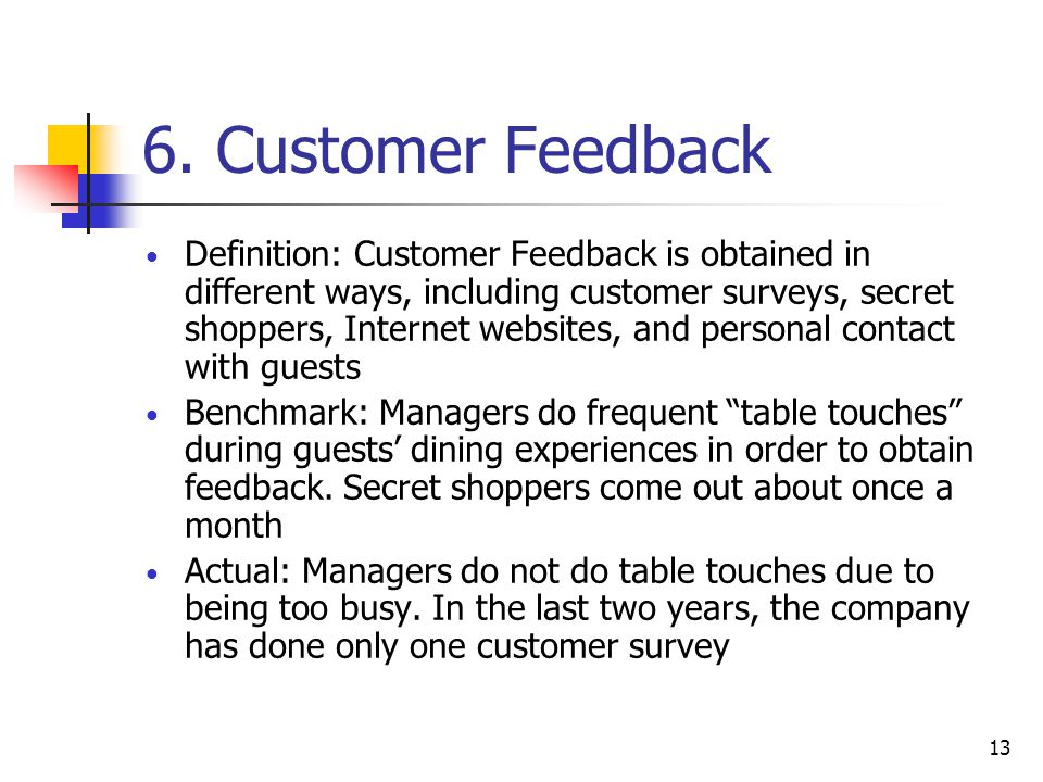 6. Customer Feedback