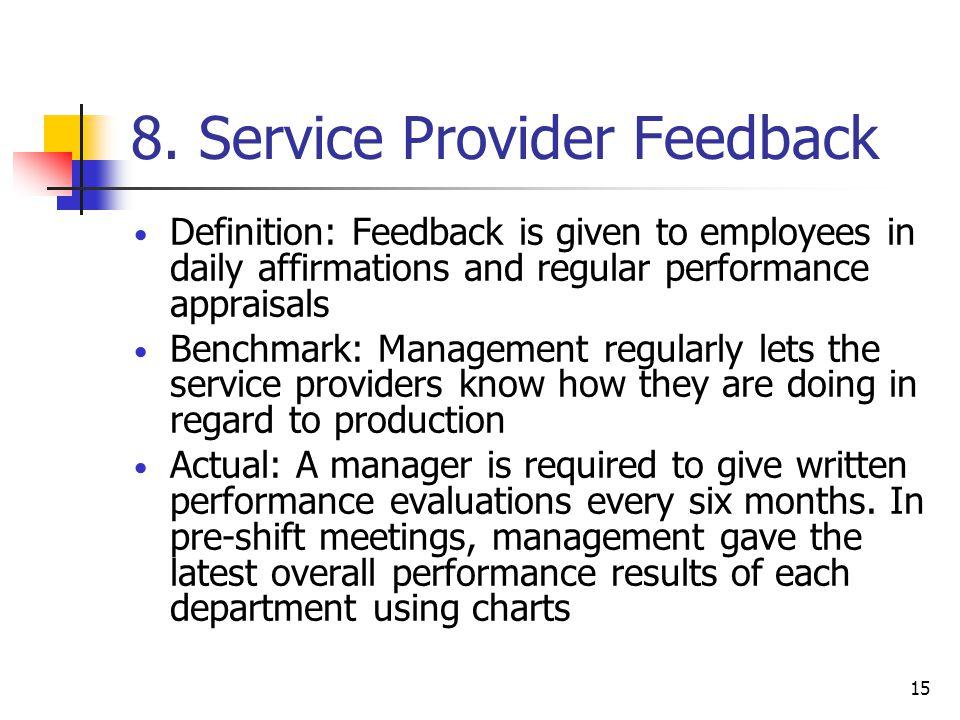 8. Service Provider Feedback