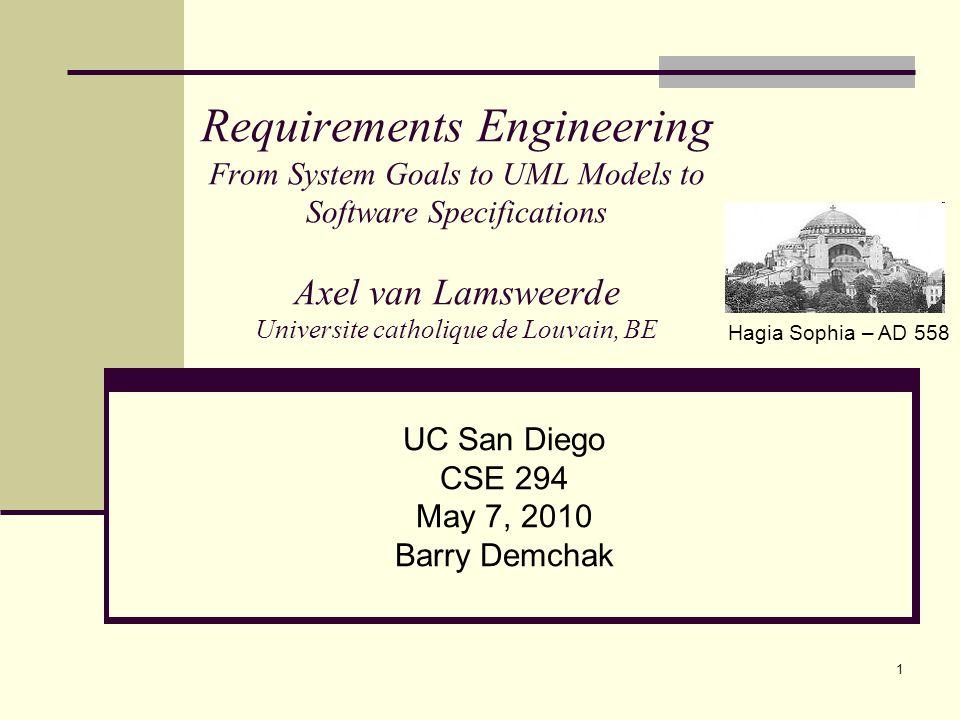 UC San Diego CSE 294 May 7, 2010 Barry Demchak