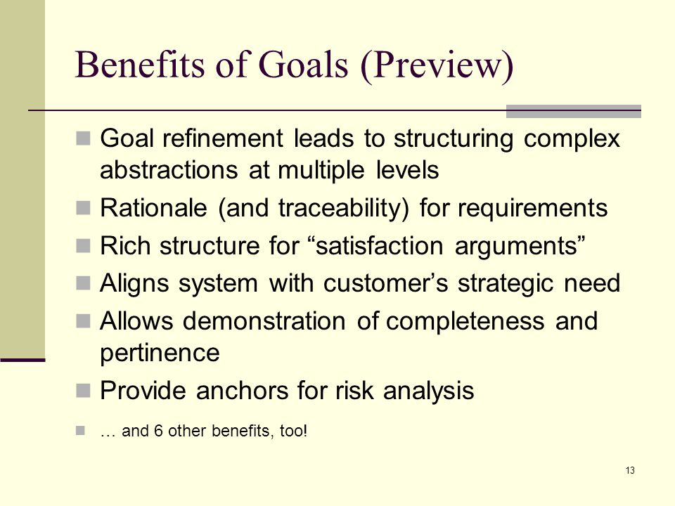 Benefits of Goals (Preview)