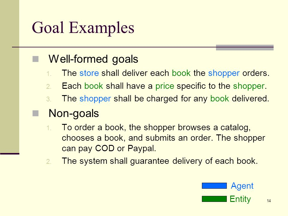 Goal Examples Well-formed goals Non-goals