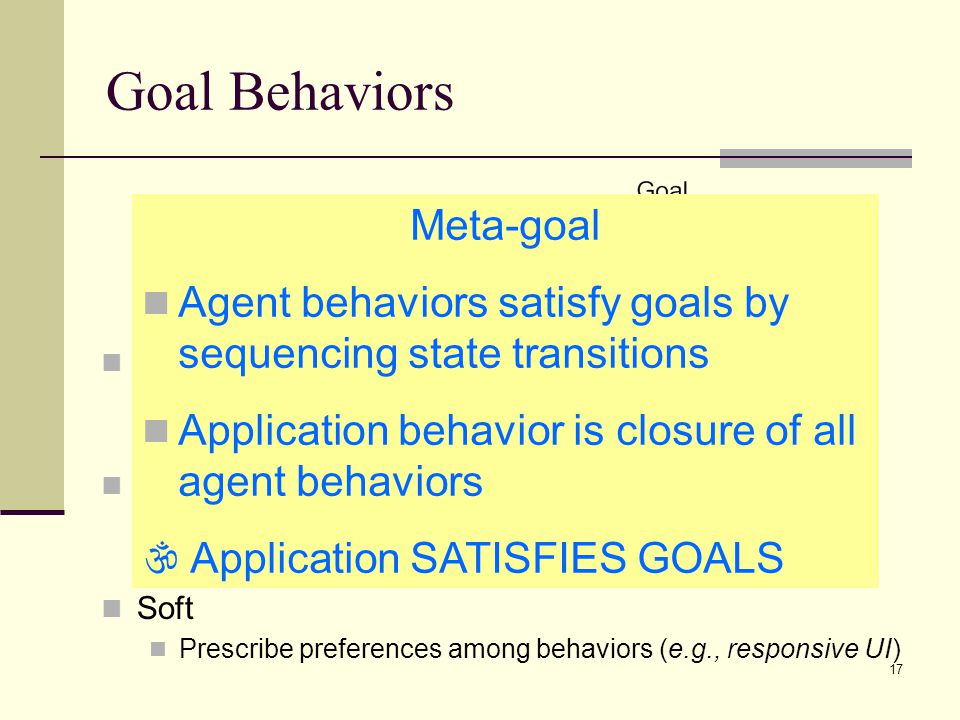 Goal Behaviors Meta-goal