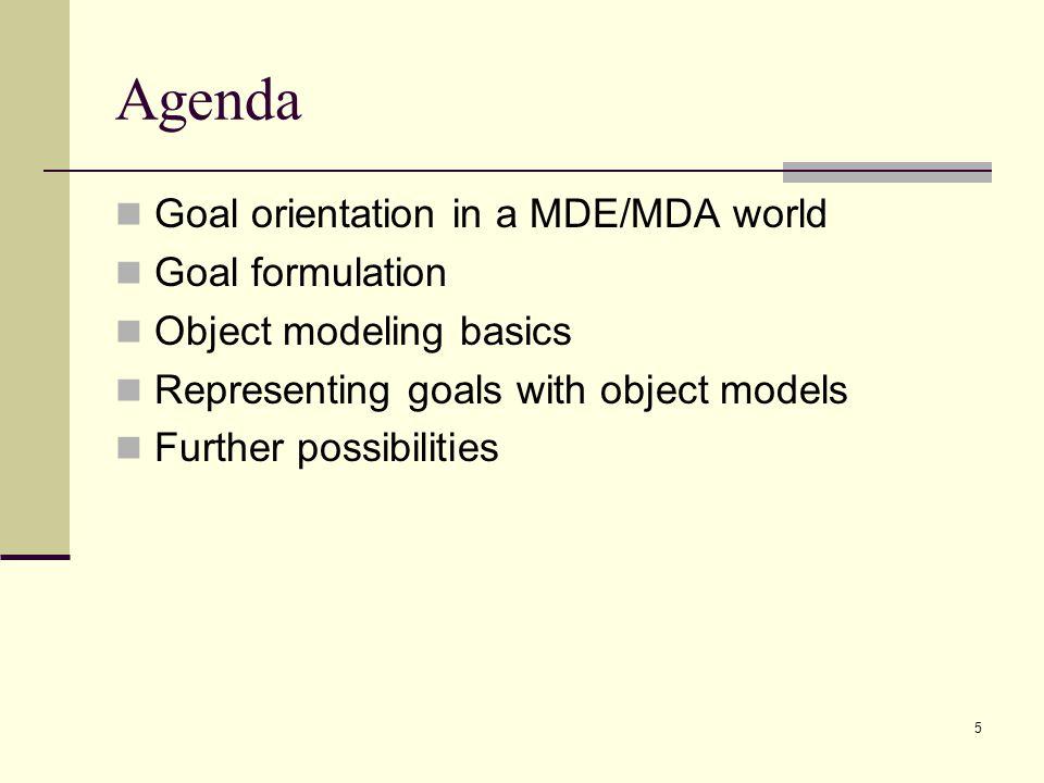Agenda Goal orientation in a MDE/MDA world Goal formulation