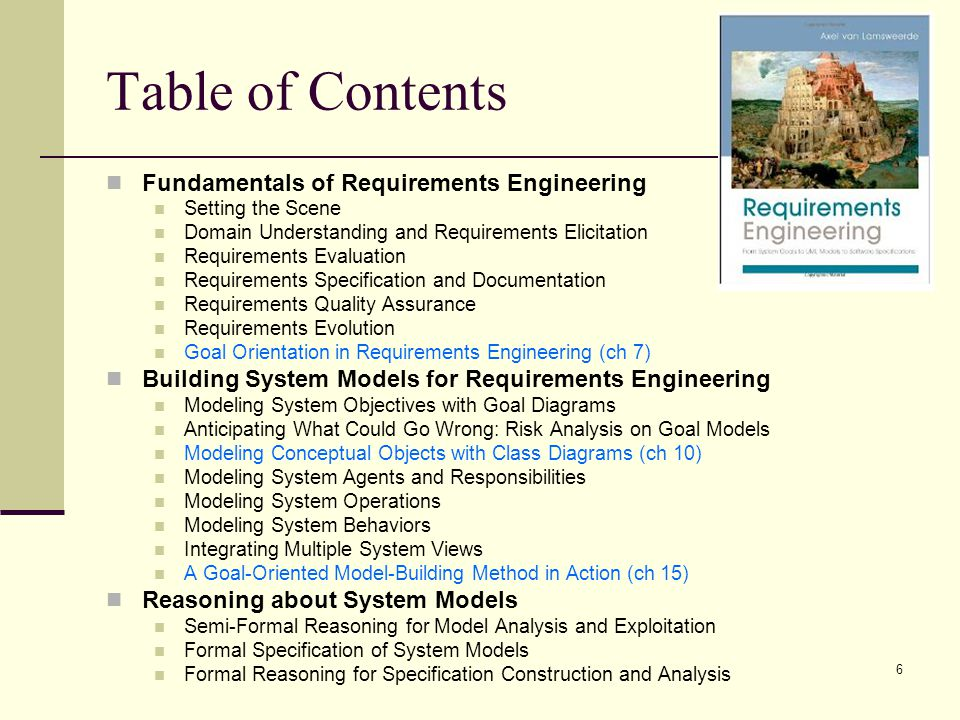 Table of Contents Fundamentals of Requirements Engineering