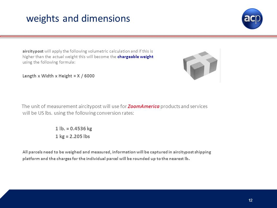 weights and dimensions