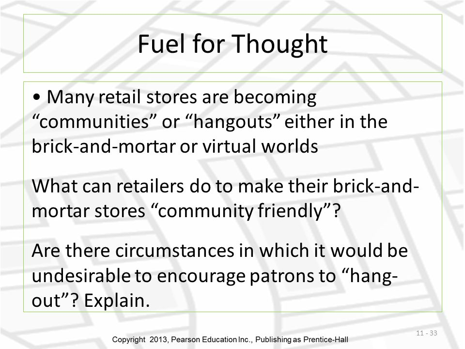 Fuel for Thought Many retail stores are becoming communities or hangouts either in the brick-and-mortar or virtual worlds.