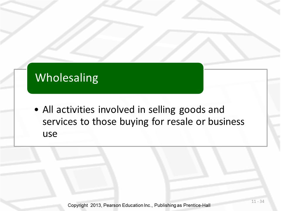 All activities involved in selling goods and services to those buying for resale or business use