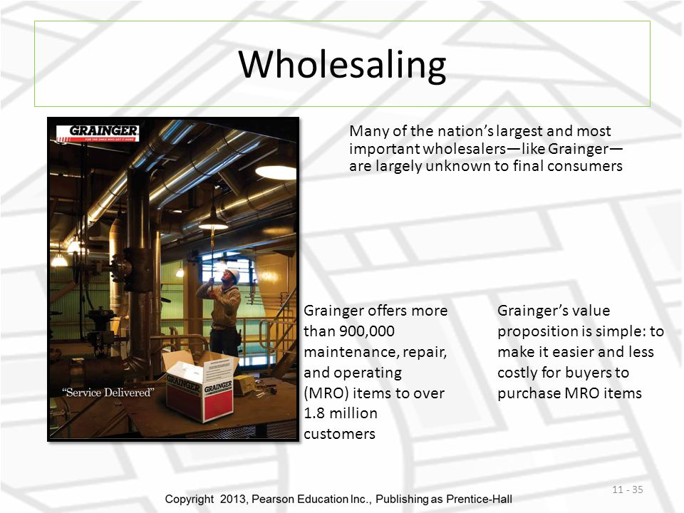 Wholesaling Many of the nation's largest and most important wholesalers—like Grainger— are largely unknown to final consumers.