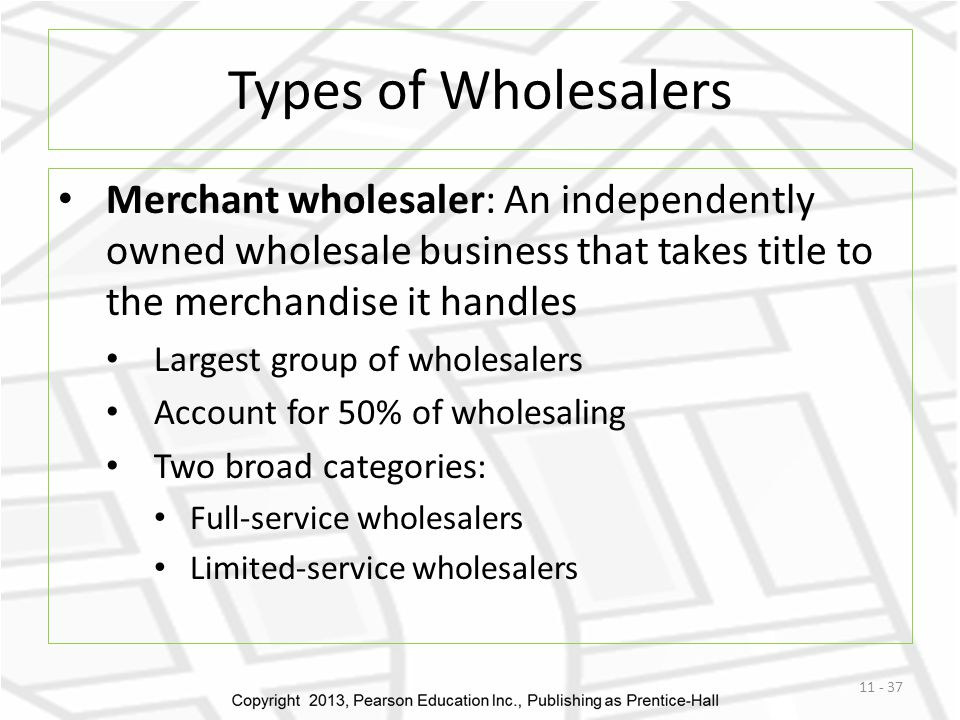 Types of Wholesalers Merchant wholesaler: An independently owned wholesale business that takes title to the merchandise it handles.