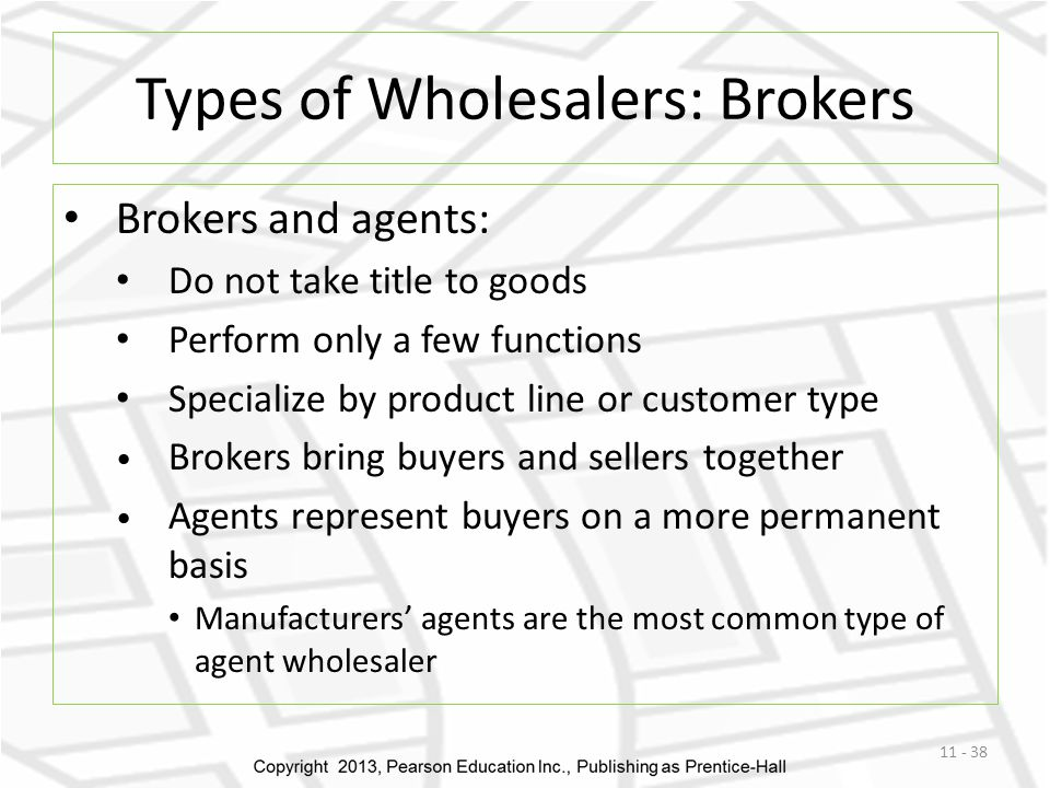 Types of Wholesalers: Brokers