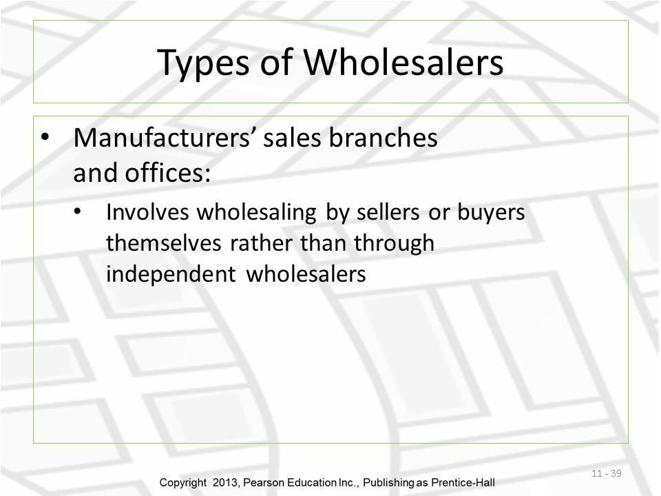 Types of Wholesalers Manufacturers' sales branches and offices: