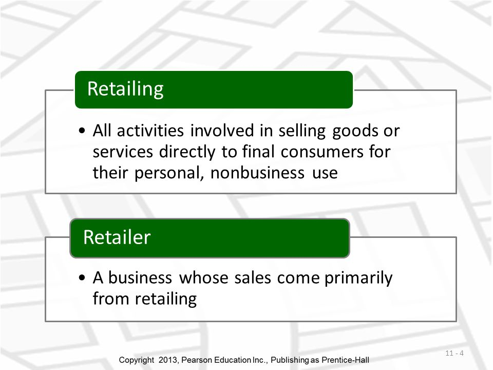 All activities involved in selling goods or services directly to final consumers for their personal, nonbusiness use