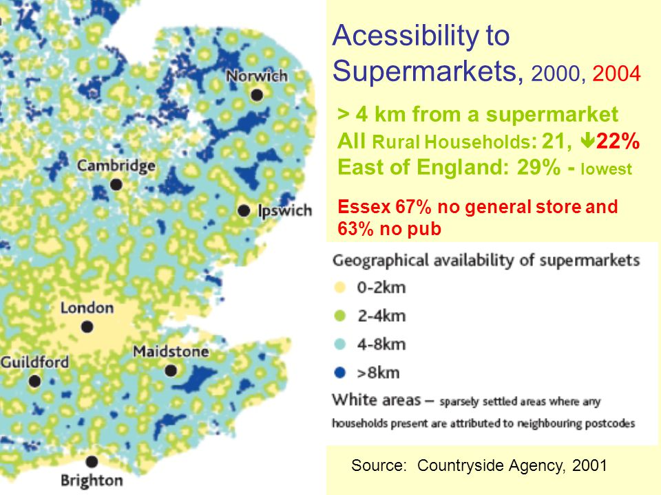 Acessibility to Supermarkets, 2000, 2004