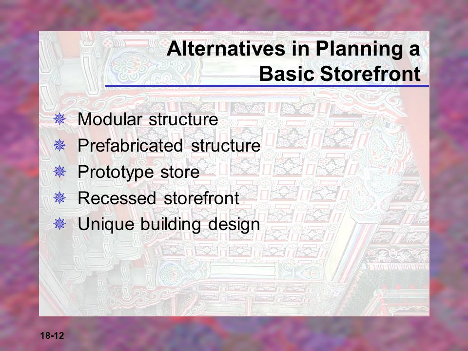 Alternatives in Planning a Basic Storefront