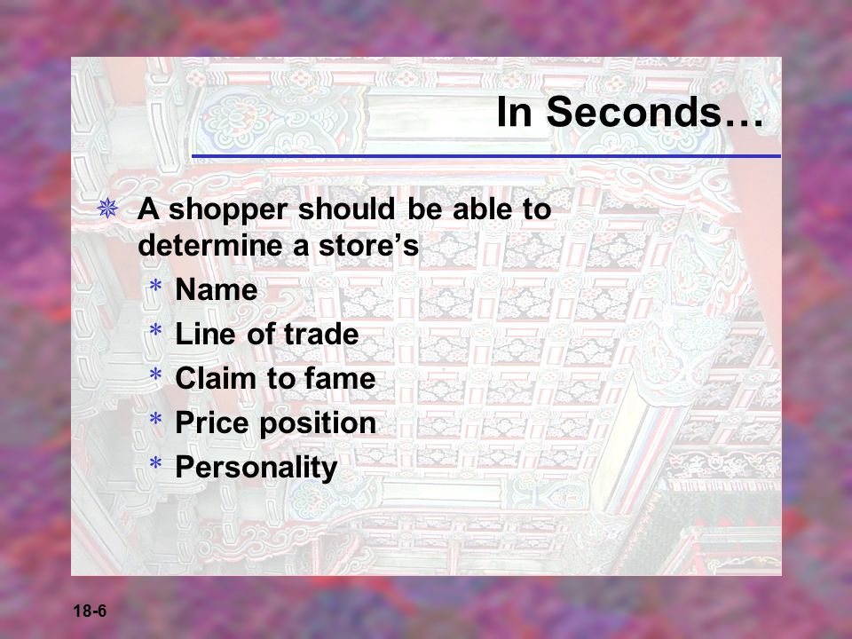 In Seconds… A shopper should be able to determine a store's Name